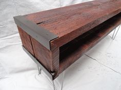 Custom Industrial media console / tv stand made from salvaged barnwood with hairpin legs. Description from pinterest.com. I searched for this on bing.com/images