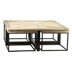 Drayton Coffee Table by Dovetail. Reclaimed elm coffee table. Metal base with a black finish. Hand crafted top in a parquet style with a light white wash sealed finish.