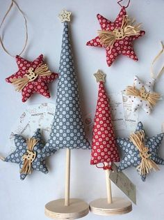 Small Christmas trees Sсandinavian style Christmas trees decoration Red and blue Christmas decor Scandi Christmas Nordic style Christmas tree.  A small composition of two Christmas trees in Scandinavian style will be a wonderful decoration in the office and at home. Handmade from 2 matching