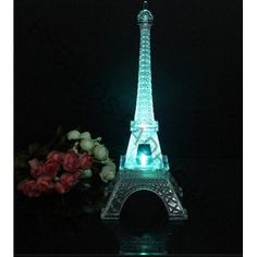 Centro De Mesa Torre Eiffel Paris Con Luz Led 25 Cm - $ 95.00