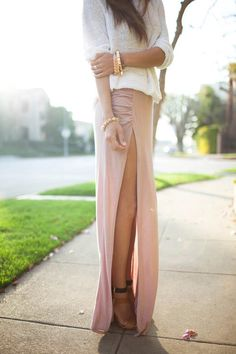 love the outfit; the colors; the maxi skirt with slit; the soft jersey; the heels; and the jewelry.