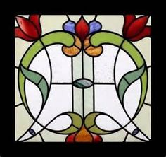 Stained Glass Window English Antique Art Nouveau Floral RARE Stunning