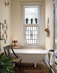 Stained Gl Bathroom Window Clawfoot Bathtub Bath Tub Room Rustic Bathrooms