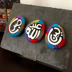 Just finished a special order of hand painted rocks on a stone slate with Arabic names (Taleen, Abdullah, Naser) ❤️... Leaving soon to Dubai :) #instadubai #instaabidhabi #mydubai #myabudhabi #gifts #new #handpainted #rockpaperscissors #shop #trendy #handmade #amman #design #homedecoration #ramadan2015