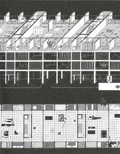 Projet théorique de W. J. Neutelings, A. Wall, X. de Geyter et F. Roodbeen pour le concours «Habitatge i Ciutat», Quaderns, Barcelone, 1990.