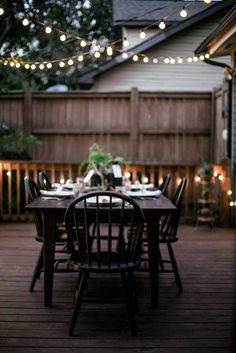 Criss-cross atop the table and along your deck railing for an inspired atmosphere.