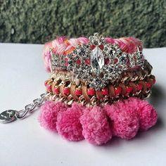 Pink pom pom bracelets pom pom jewelry pink by JewelryLanChe