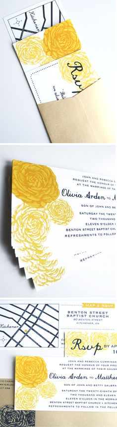 Yellow + navy blue colour scheme - loved it.  Screen-printed. #invitations
