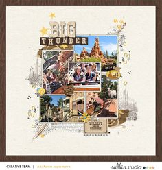 Disney Big Thunder Mountain digital scrapbooking page using Project Mouse (Frontier): Enamel Pins & Artsy by Britt-ish Designs and Sahlin Studio