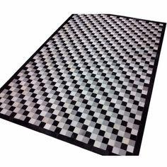 tapete de couro tricolor 1,60x2,00 com bordas