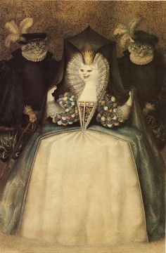 """Illustration by Gennady Spirin, from the book 'The White Cat"""" by Robert D. Sans Souci. (old French fairy tale)"""