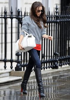 More of a winter outfit. Love the bright pop of coral peeking out from the neutral sweater, and the bright white bag.