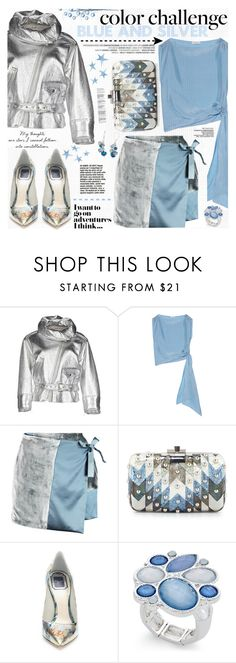 """""""Rock This Look: Blue and Silver"""" by katjuncica ❤ liked on Polyvore featuring Jean-Paul Gaultier, Vionnet, Missoni, Judith Leiber, Christian Dior, Style & Co., Napier and blueandsilver"""