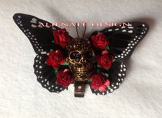DAY OF THE DEAD BURLESQUE BUTTERFLY SKULL HAIR CLIP ROCKABILLY 50'S RED ROSES | eBay