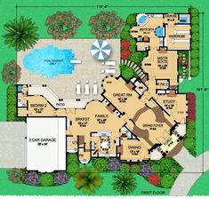 Luxury House Plans, Best House Plans, Dream House Plans, House Floor Plans, Dream Houses, Luxury Houses, Big Houses, European Plan, Two Bedroom Suites