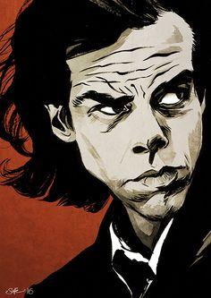 Nick Cave portrait  A4 colour art print by Mygrimmbrother on Etsy
