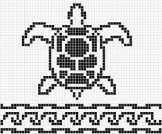 WitchWolfWeb Creations: Sea Turtle filet chart with border Filet Crochet Charts, Cross Stitch Charts, Cross Stitch Designs, Cross Stitch Embroidery, Cross Stitch Patterns, Fair Isle Knitting Patterns, Knitting Charts, Sock Knitting, Weaving Patterns