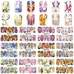 1 Sheet Charming Feathers Dream Catcher Nail Art Water Tattoo Design Manicure Flowers Water Transfer Decals A1309-1320