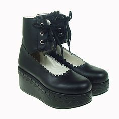 Black PU Leather 7cm Platform Gothic Lolita Shoes – USD $ 53.99