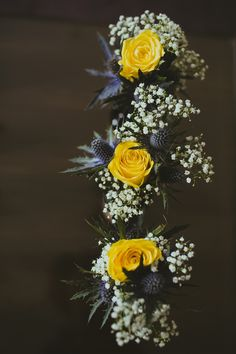 Yellow Rose Thistle Bouquets Flowers Eclectic DIY Park Handfasting Wedding http://www.annaurban.com/