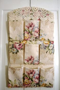 Gorgeous Vintage Roses Bark Cloth Barkcloth Pocket by sewmanyroses