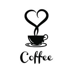 Coffee Heart Vinyl Wall Decal Kitchen Art for by SidratDecals