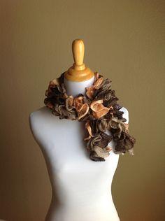 Lace Fashion Scarf Peach Tan Brown. $18.50, via Etsy.
