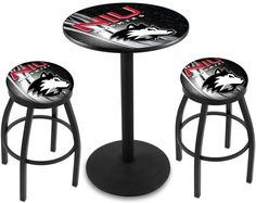 Northern Illinois Huskies D2 Black Pub Table Set. Available in two table widths.  Visit SportsFansPlus.com for Details.