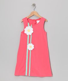 Take a look at this Coral Daisy A-Line Dress - Toddler & Girls by Gidget Loves Milo on #zulily today!