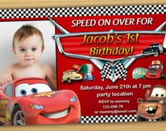 Invitacion Del Cumpleanos De Cars Disney Por SuperBirthdayParty First Birthday Pictures Baby Boy