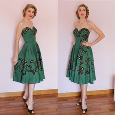 50s Atomic Bust Hand painted Mexican Dress by MariaGuyeClothing