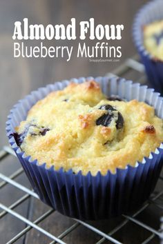 Almond Flour Blueberry Muffins Recipe easy gluten free muffins with almond flour full of blueberries and a little orange. These low carb muffins make the best breakfast or snack! They freeze well too and can easily be defrosted in the microwave Almond Flour Blueberry Muffins Recipe, Baking With Almond Flour, Almond Flour Recipes, Blue Berry Muffins, Gluten Free Blueberry Muffins, Almond Flour Bread, Gourmet Recipes, Low Carb Recipes, Baking Recipes