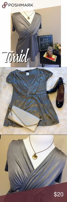 Torrid Metallic Silver Surplice Top L Torrid size 0 = large.  Excellent condition.  Has some stretch.  Very flattering! B10 torrid Tops