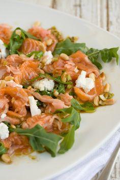 Raw Norwegian salmon salad from Bizerca Bistro // Drizzle and Dip Seafood Salad, Fish Salad, Fish And Seafood, Salmon Salad Recipes, Healthy Salad Recipes, Fish Recipes, Norwegian Cuisine, Norwegian Wood, Raw Salmon