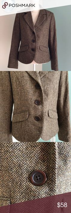 Boden tweed 3 button jacket UK 16 US 12 Brown Harris tweed jacket with 3 buttons. Like new! UK size 16, US 12 Boden Jackets & Coats