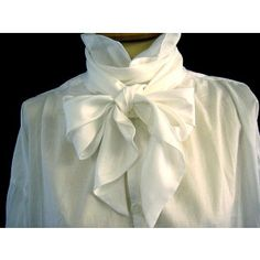 These lengths can be loosely tied into soft bows. They work best when wound round the throat twice before tying the bow at the front. The white were generally worn on more formal occasions especially evening wear. White Bow Tie, White Silk, Pure White, Butler Costume, Dressy White Blouses, Shirt Collar Styles, Silk Bow Ties, Bow Tie Blouse, Cravat