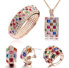 'Luxury Queen' Mondaynoon SWAROVSKI ELEMENTS Colorful Crystal 18K Rose Gold Plated Pendant Necklace Cuff Bangle Earrings Rings 4 in 1 Statement Jewelry Set for Women's Valentine's Day Gift ** You can get additional details at the image link. (This is an affiliate link and I receive a commission for the sales)