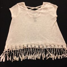Never Worn White Top with Fringe Bottom!  Brand New White Top with Fringe Bottom and Criss Cross back! Lightweight and cute to match with anything  Rue 21 Tops