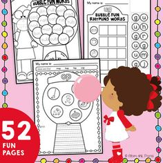 This packet of 52 worksheets will help you integrate phonics, reading  and writing. There are 3 styles of sheet included:1. Spin, Read and Trace - students spin a word family and must find a word to match and trace it2. Cut, Paste & Build - students cut and paste gum ball letter tiles to make words in the gum ball machine - words rhyme - cutting is all in rectangle shapes3.