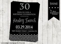 Shine - A Customizable Birthday Invitation by ImpressionsPaperie, $15.00 | Chevron Glitter | Black and Silver | Black and White | 18th 21st 30th 40th 50th birthday invitation