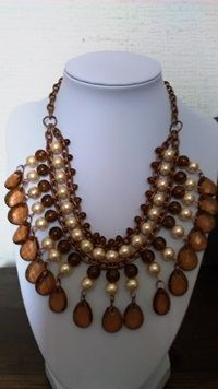 CG 028 Collar cafe perlas $ 11.990