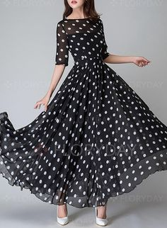 Dress - $62.68 - Chiffon Polka Dot Half Sleeve Maxi Dresses (1955121362)