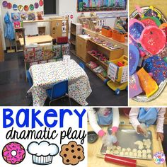 Bakery Dramatic Play - how to change your dramatic play center into a bakery in a preschool, pre-k, and kindergarten classr Fall Preschool Activities, Preschool Centers, Play Based Learning, Preschool Learning Activities, Preschool Lessons, Valentine Activities, Letter Activities, Classroom Activities, Classroom Decor