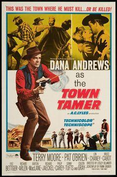 ocidentais, filmes, vintage, cartazes do vintage, design gráfico, download gratuito, impressão retro, cartazes clássicos, Cidade Tamer - Poster ocidental Vintage Filme Cowboy