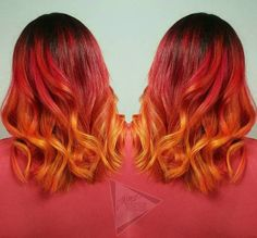 Curly Red And Orange Ombre Lob
