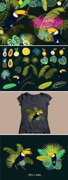 Toco Toucan and tropic leaves #Vector #Illustrations set. #graphics Download Now