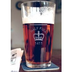 Half full pint glass £17.99
