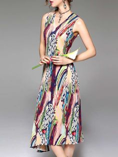 Shop Multicolor Asymmetrical Sleeveless Midi Dress Online. The world's most-coveted and unique  designer apparel - Sexyplus everyday.