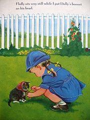 Girl puts bonnet on kitten; art by eloise wilkin