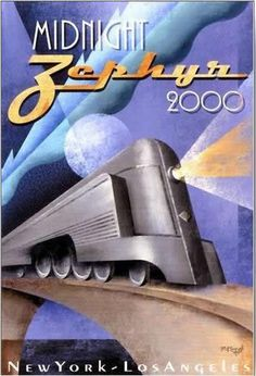 A bullet train between NY and LA in 2000? Possibly more like in 2100, hopefully by then America's obsession with cars and airplanes will have weakened, and the USA will have a nationwide high speed train system between cities as envisioned by this piece of art !